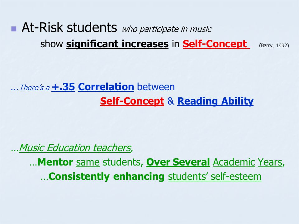 At-Risk students who participate in music