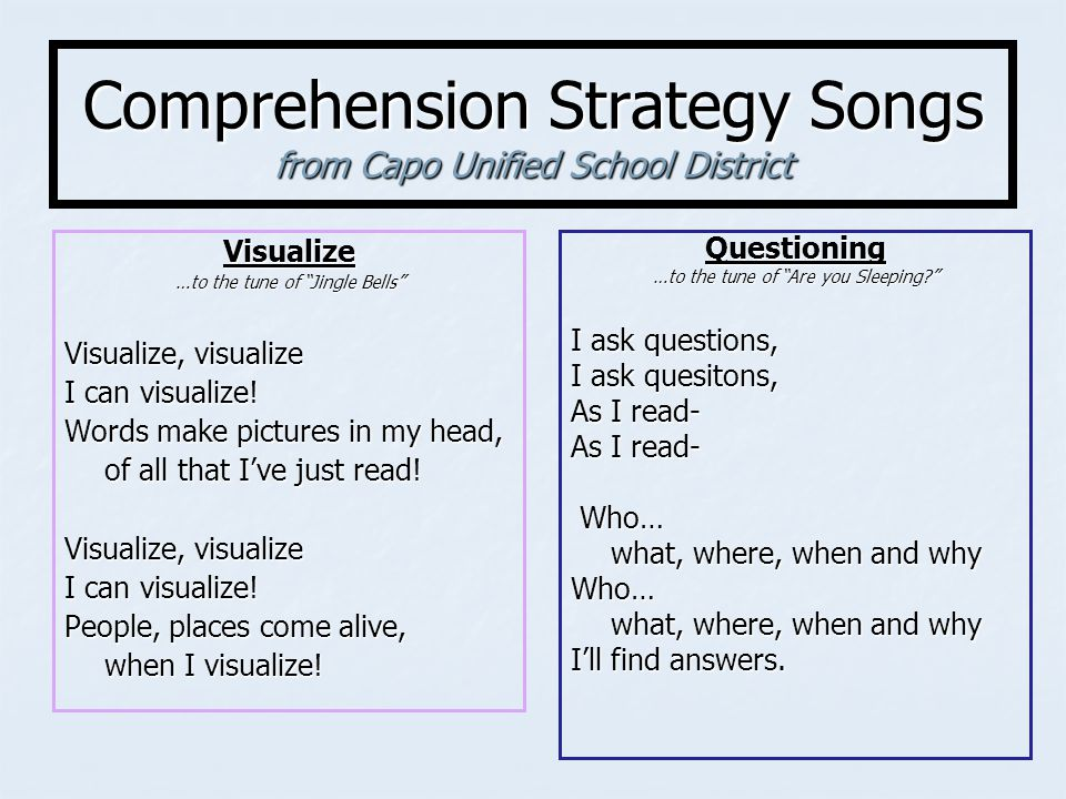 Comprehension Strategy Songs from Capo Unified School District