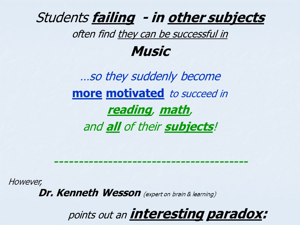 Students failing - in other subjects Music
