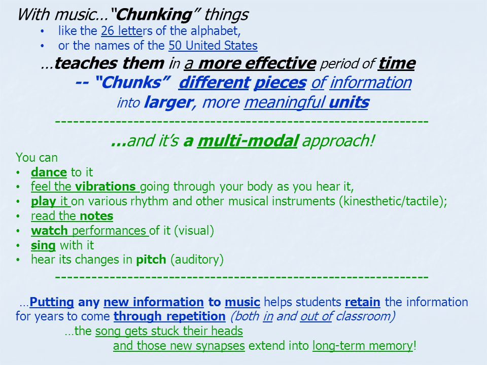 With music… Chunking things