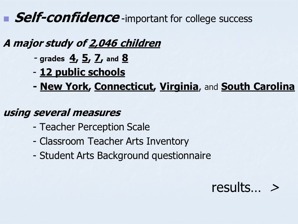 Self-confidence -important for college success