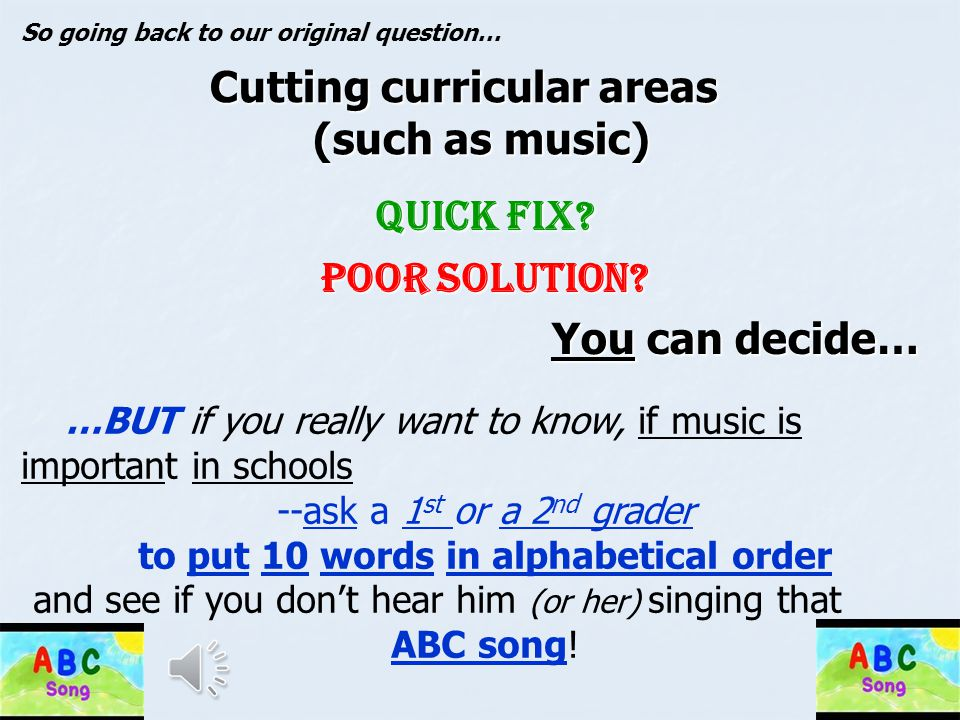 Cutting curricular areas (such as music)