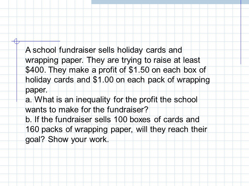 A school fundraiser sells holiday cards and wrapping paper
