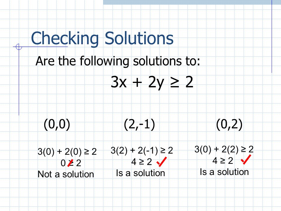 Checking Solutions 3x + 2y ≥ 2 Are the following solutions to: