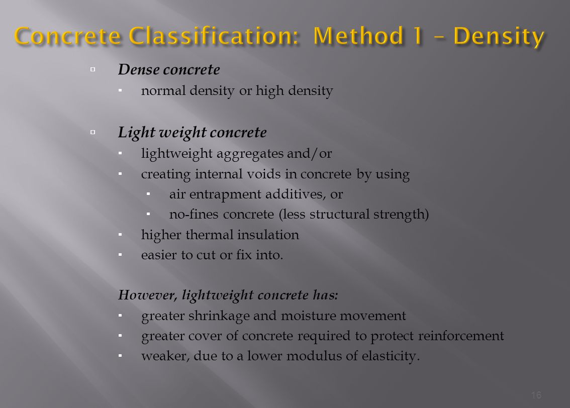 Concrete Classification: Method 1 – Density