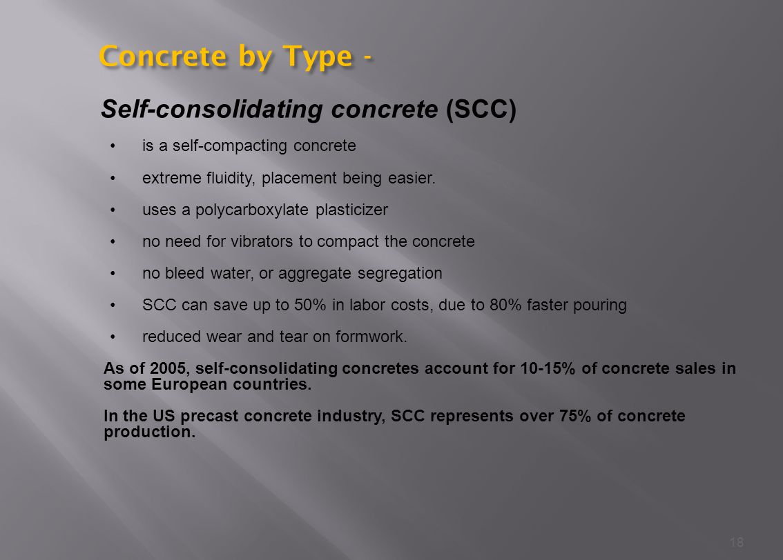 Concrete by Type - Self-consolidating concrete (SCC)