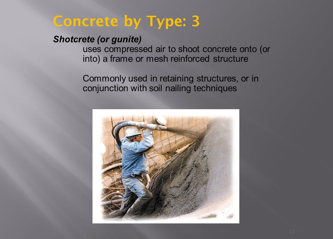 Concrete by Type: 3 Shotcrete (or gunite)