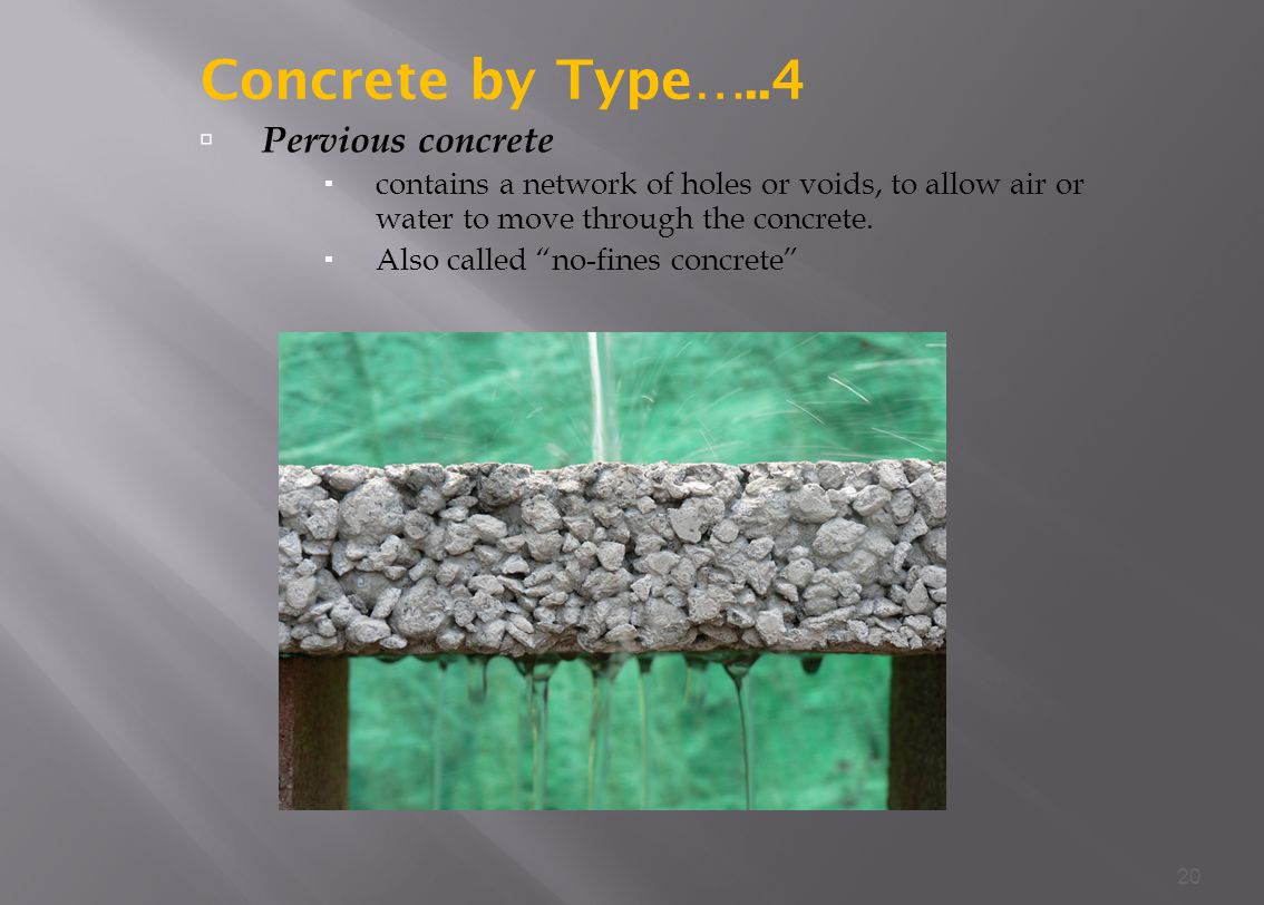 Concrete by Type…..4 Pervious concrete