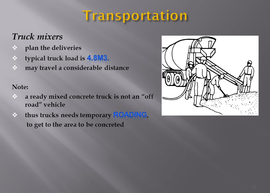 Transportation Truck mixers plan the deliveries