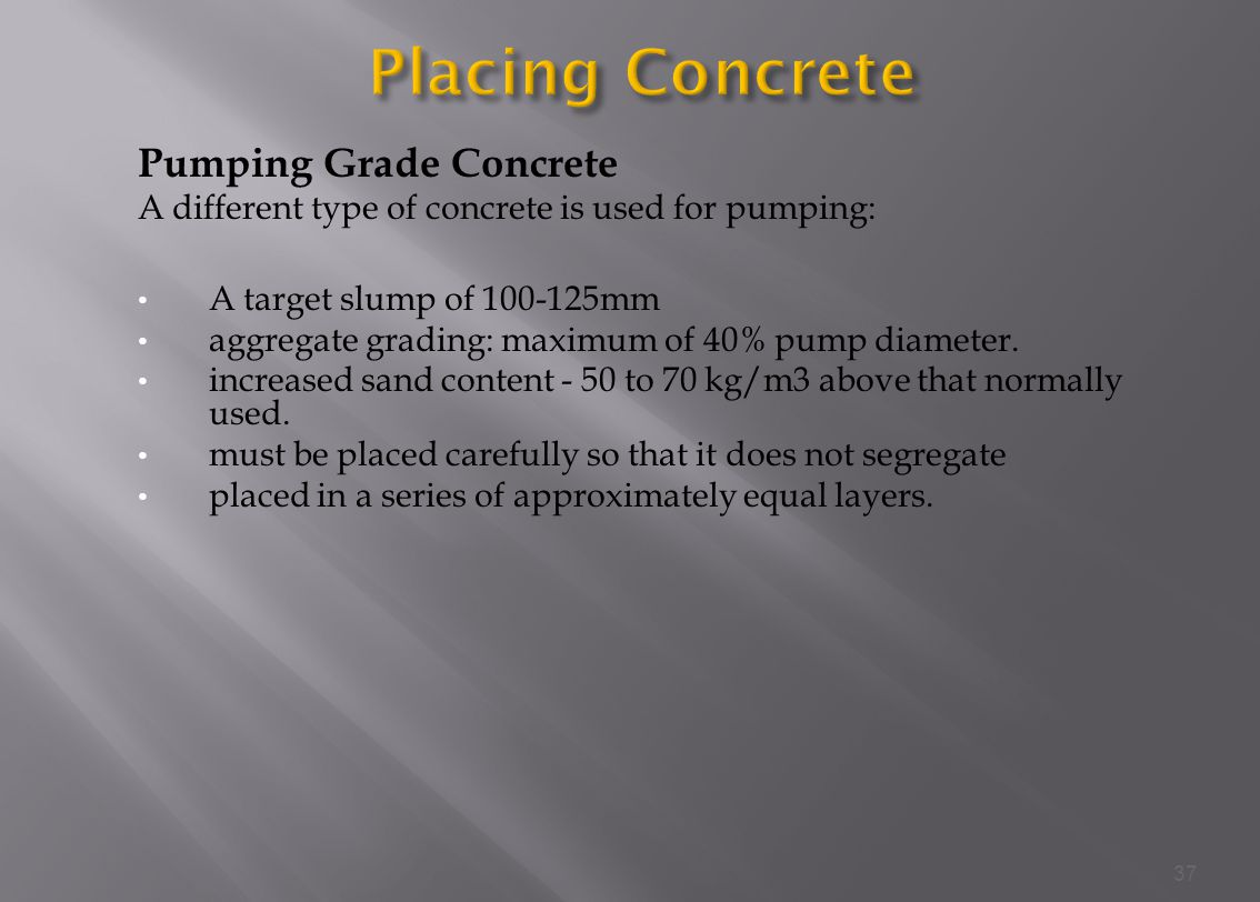 Placing Concrete Pumping Grade Concrete