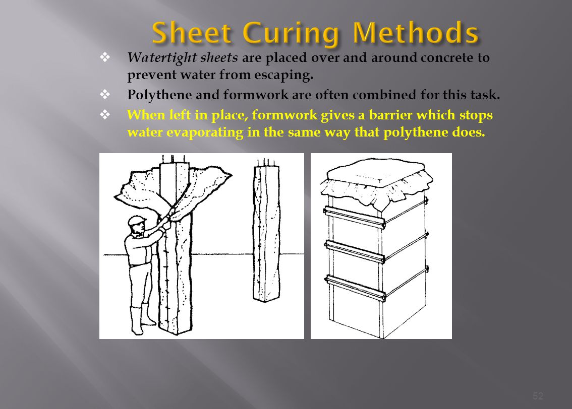 Sheet Curing Methods Watertight sheets are placed over and around concrete to prevent water from escaping.