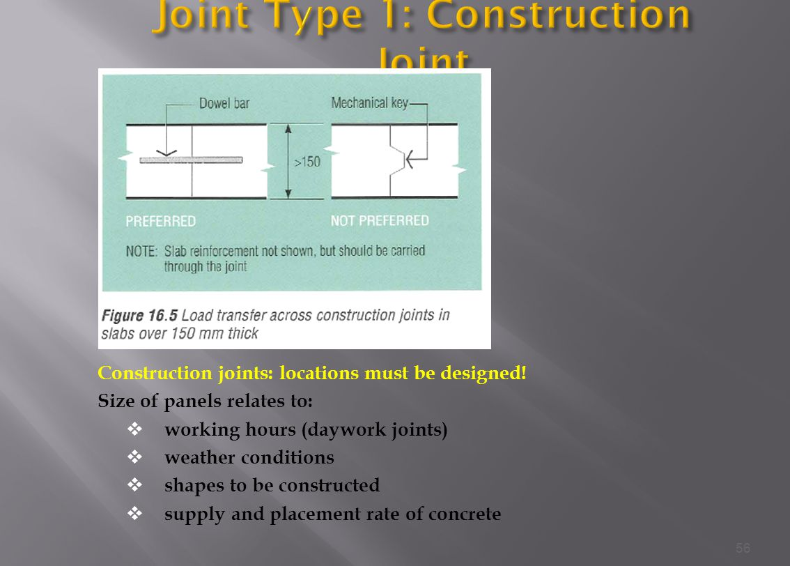 Joint Type 1: Construction Joint