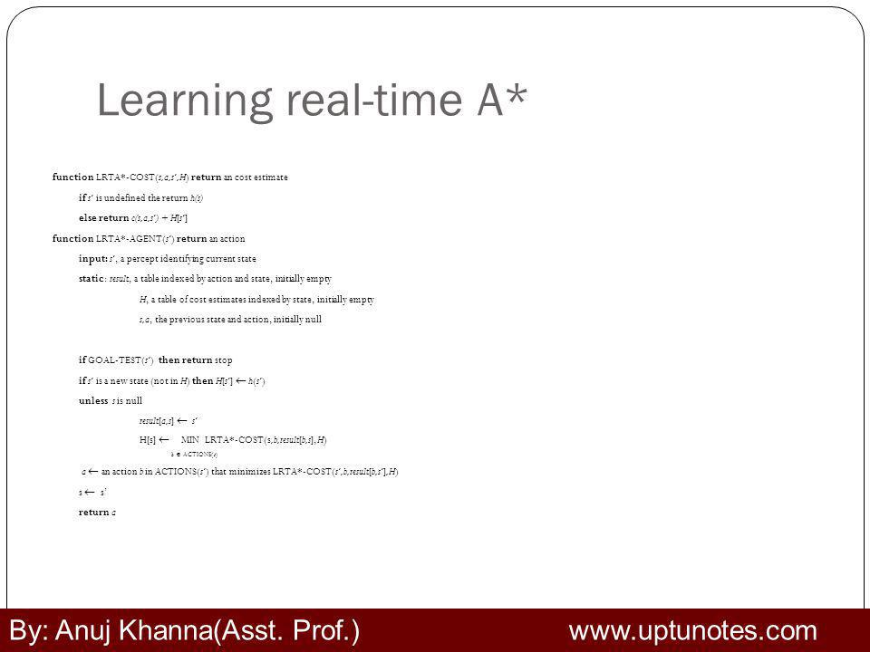 Learning real-time A* By: Anuj Khanna(Asst. Prof.) www.uptunotes.com