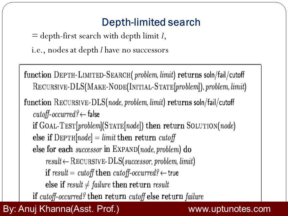 Depth-limited search = depth-first search with depth limit l,