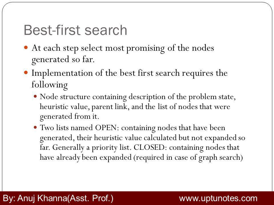 Best-first search At each step select most promising of the nodes generated so far. Implementation of the best first search requires the following.