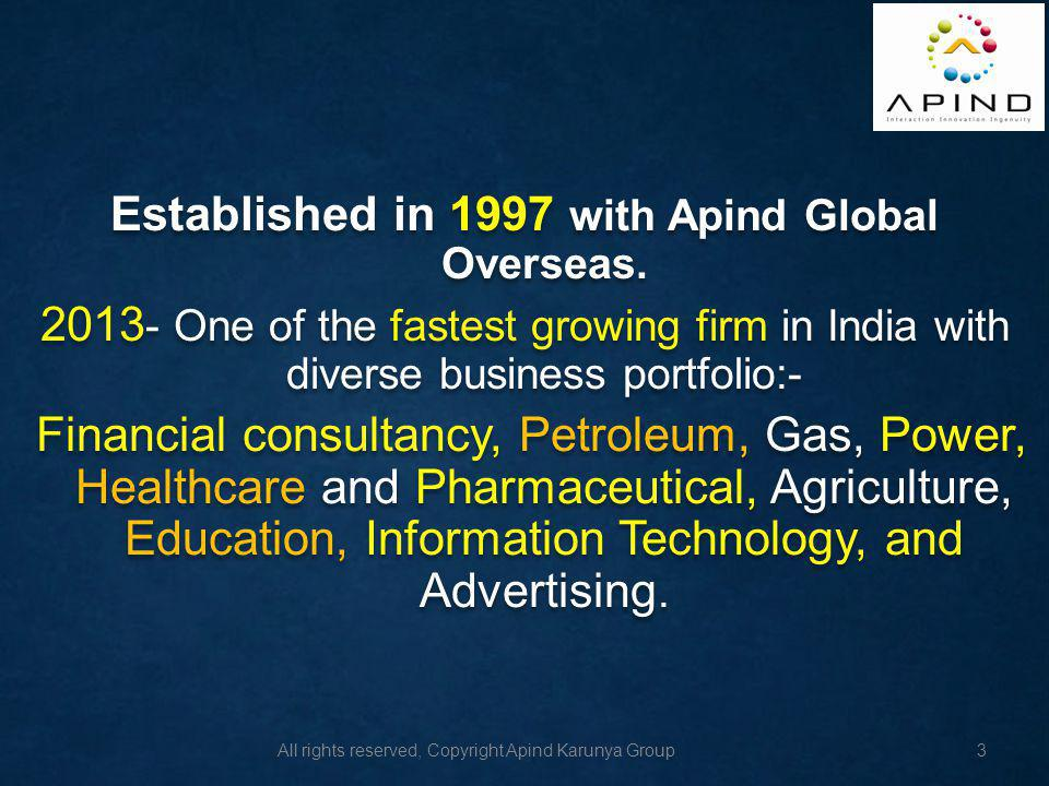 Established in 1997 with Apind Global Overseas