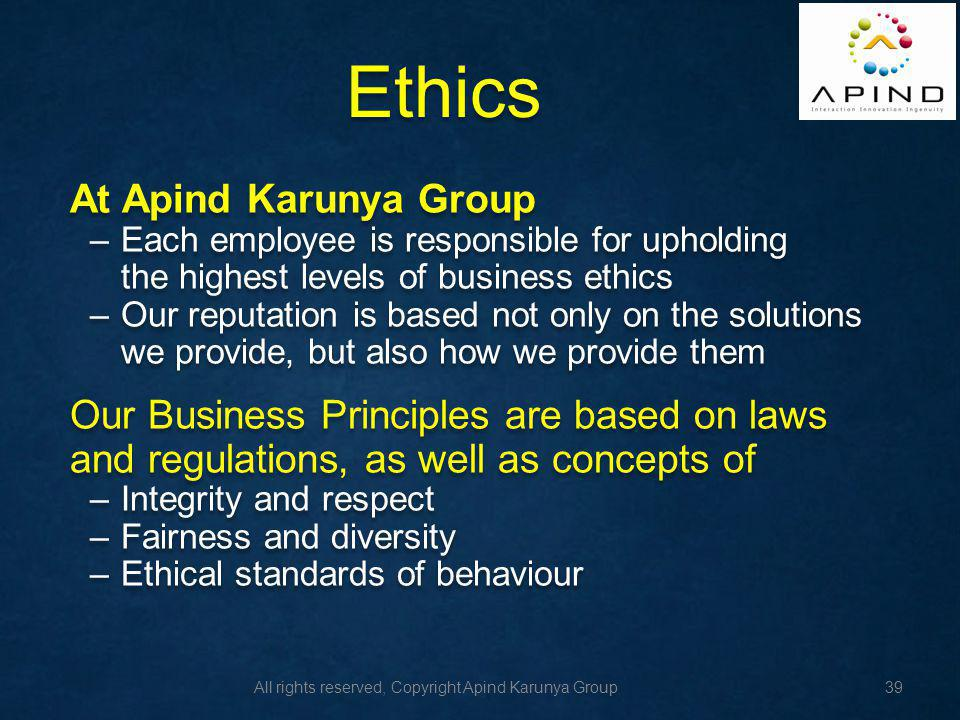 Ethics At Apind Karunya Group