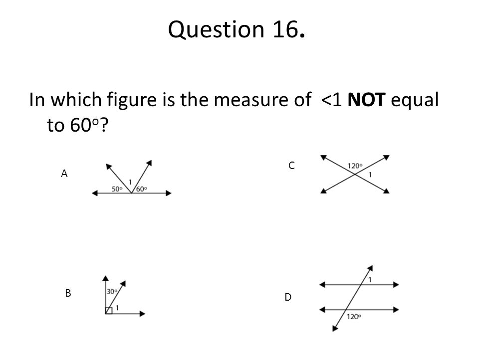 Question 16. In which figure is the measure of <1 NOT equal to 60o