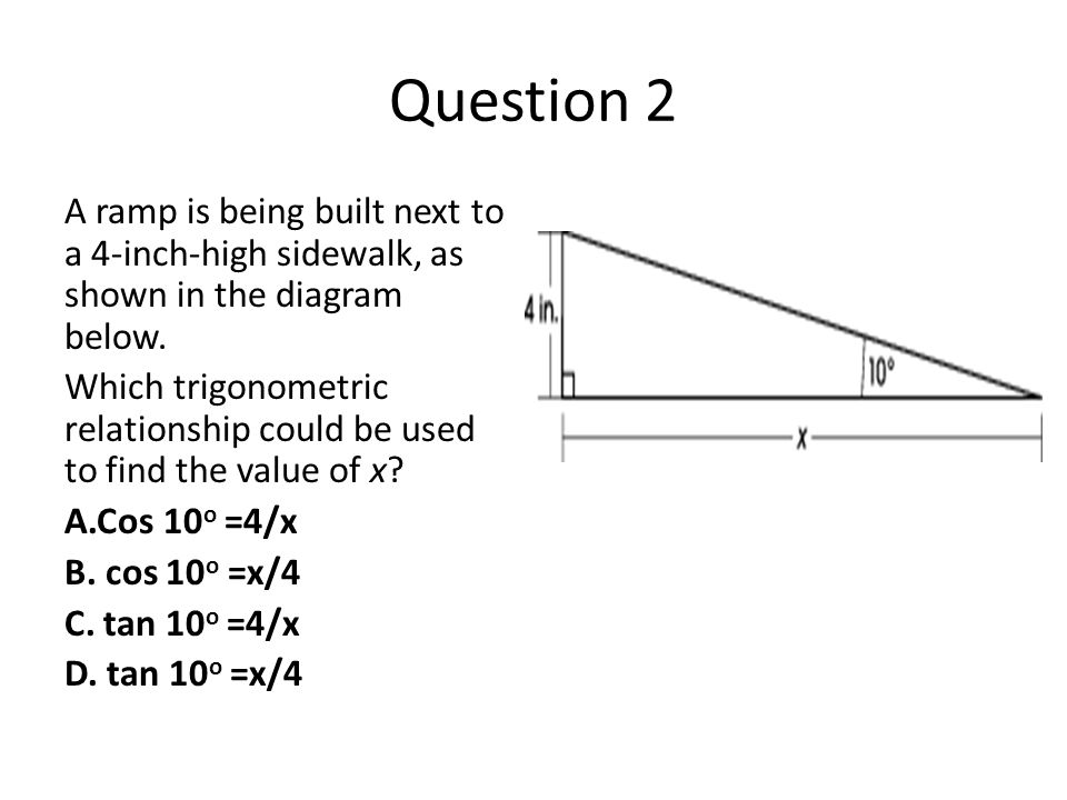 Question 2 A ramp is being built next to a 4-inch-high sidewalk, as shown in the diagram below.