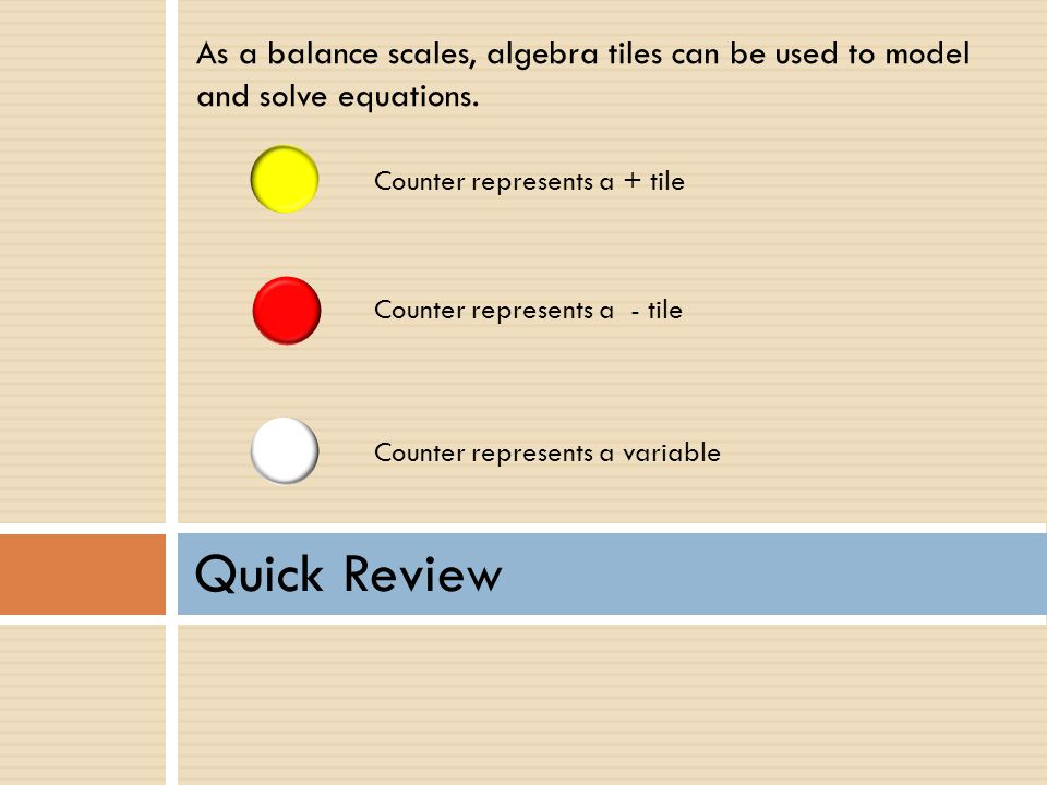 As a balance scales, algebra tiles can be used to model and solve equations.