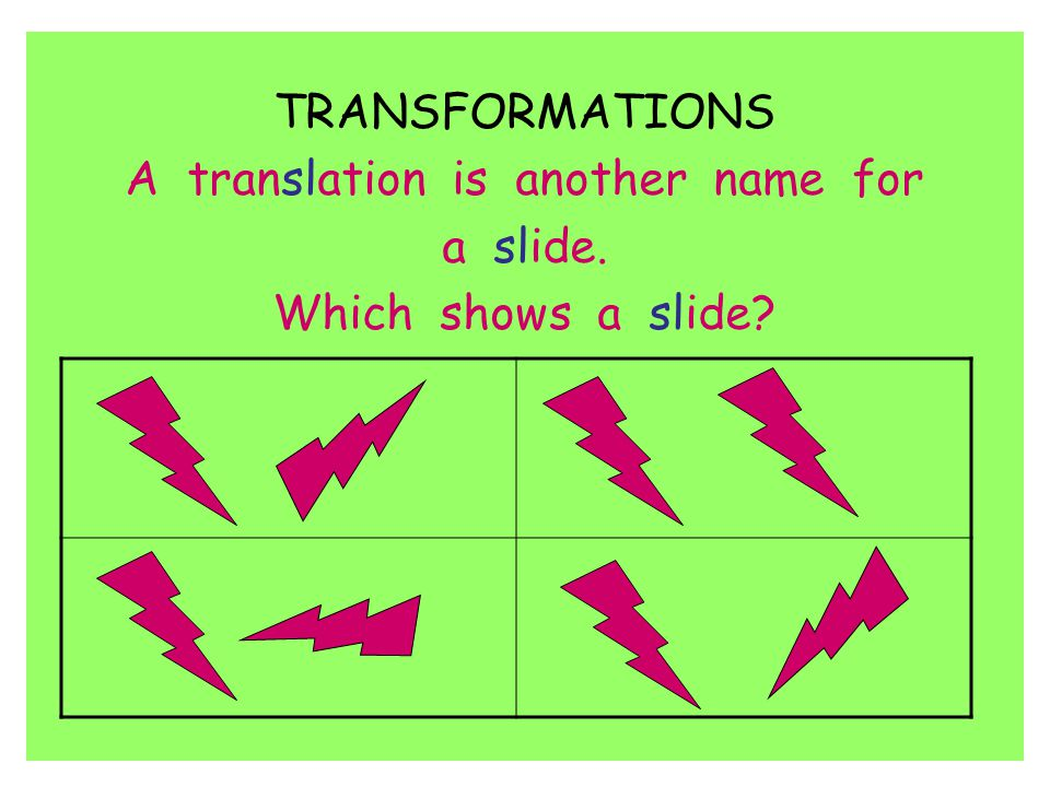 A translation is another name for