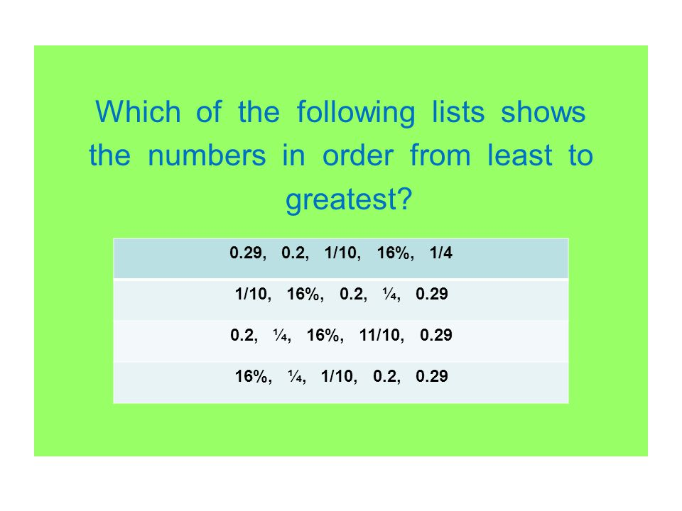 Which of the following lists shows the numbers in order from least to greatest