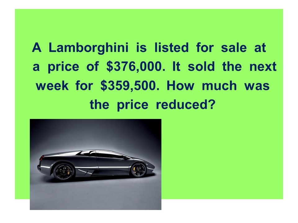 A Lamborghini is listed for sale at a price of $376,000