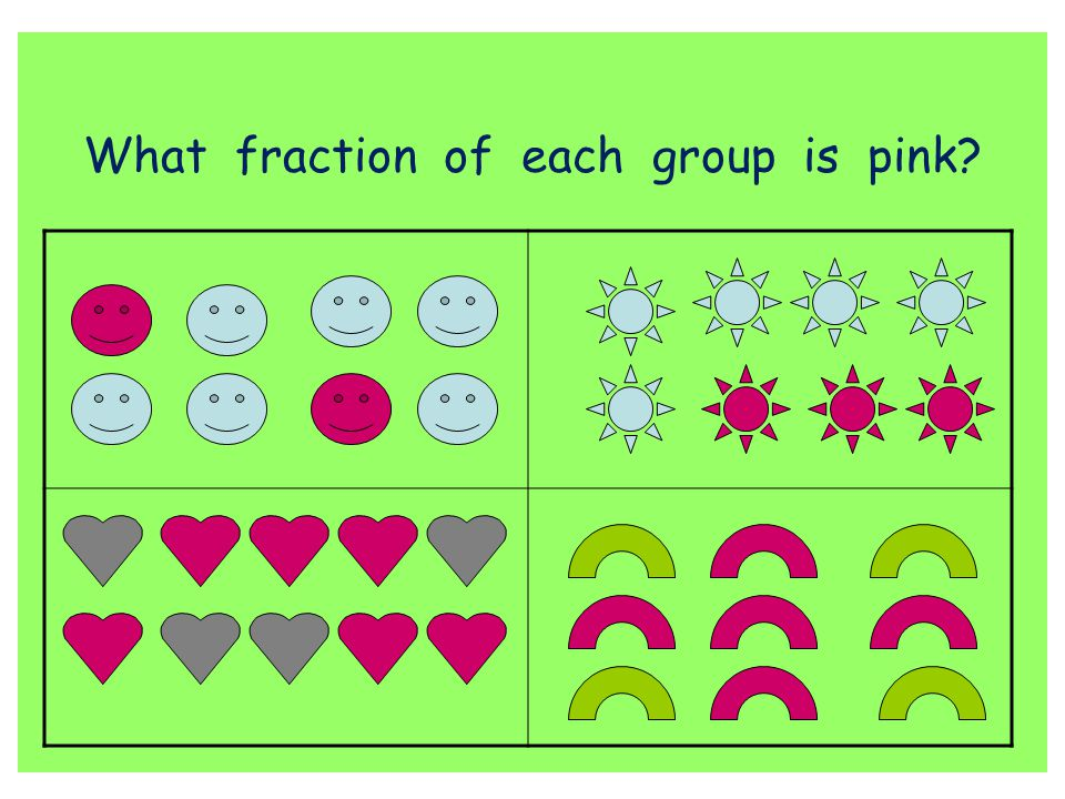 What fraction of each group is pink