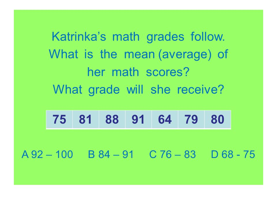 Katrinka's math grades follow. What is the mean (average) of