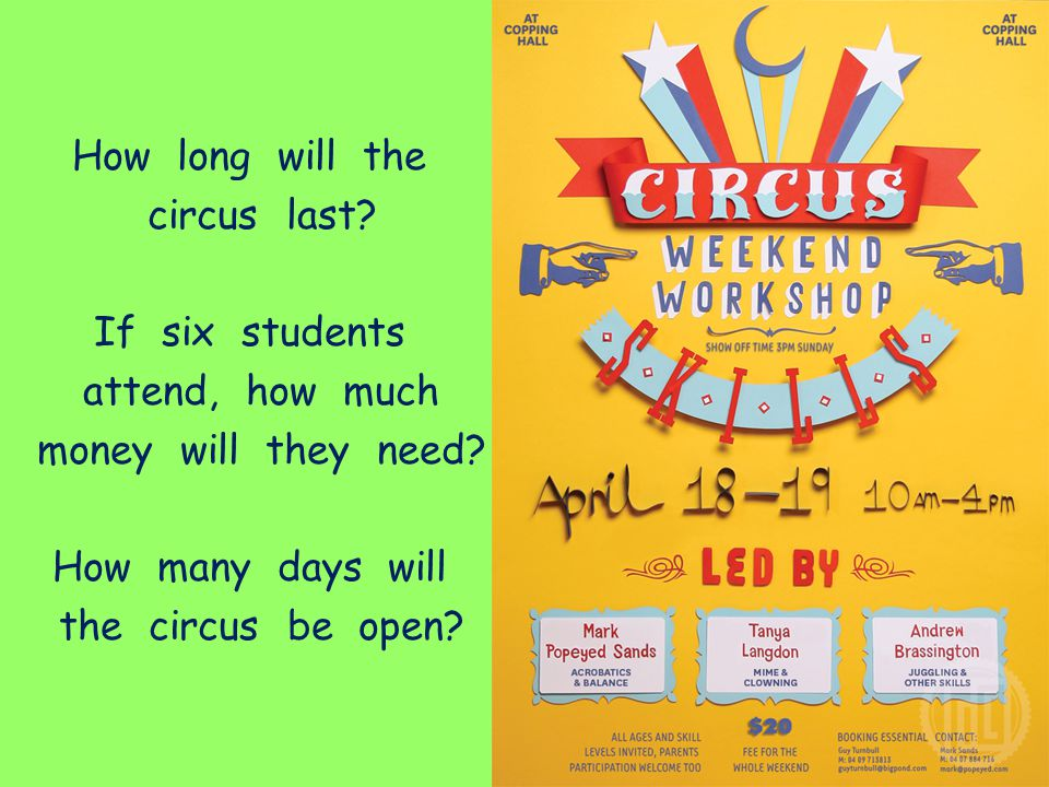 How long will the circus last If six students. attend, how much. money will they need