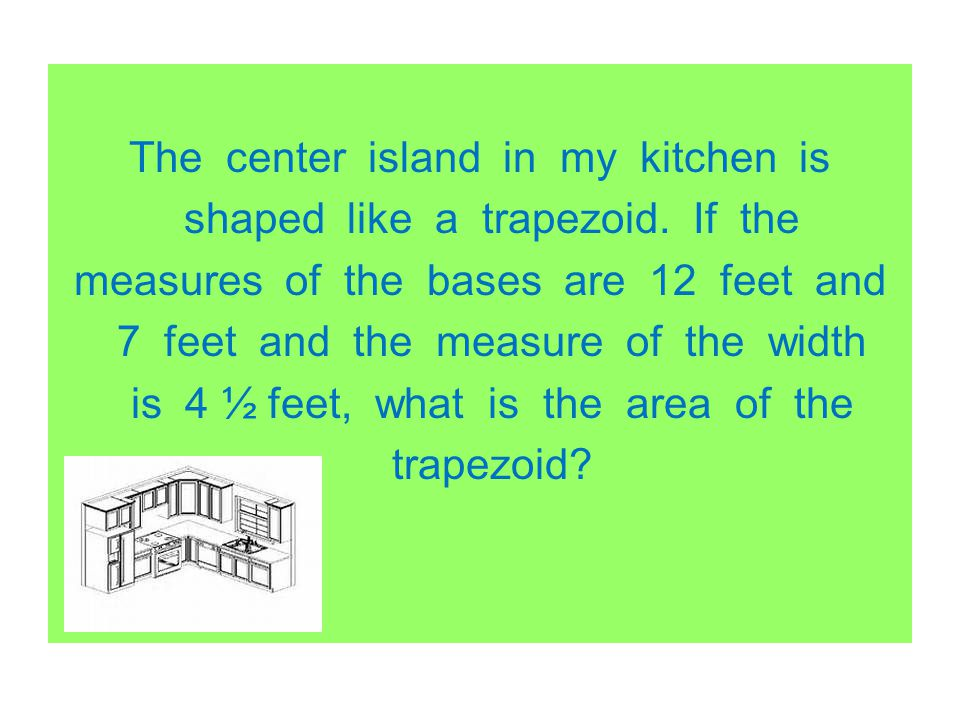 The center island in my kitchen is shaped like a trapezoid