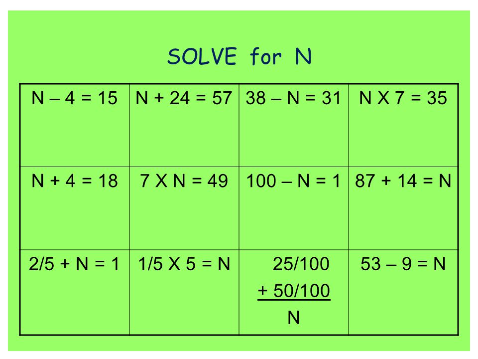 SOLVE for N N – 4 = 15 N + 24 = 57 38 – N = 31 N X 7 = 35 N + 4 = 18