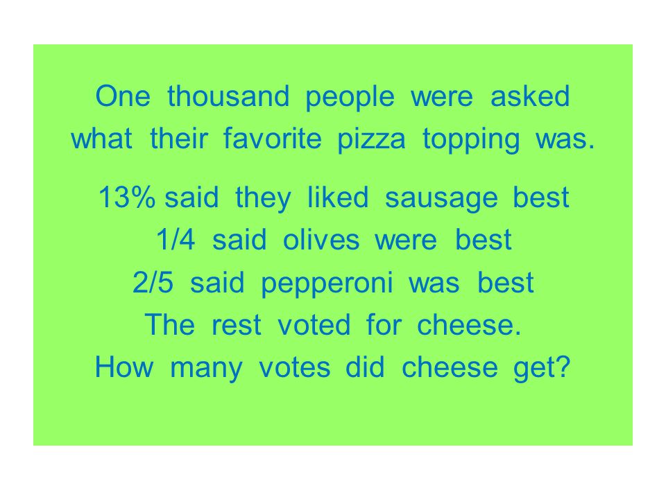 One thousand people were asked what their favorite pizza topping was