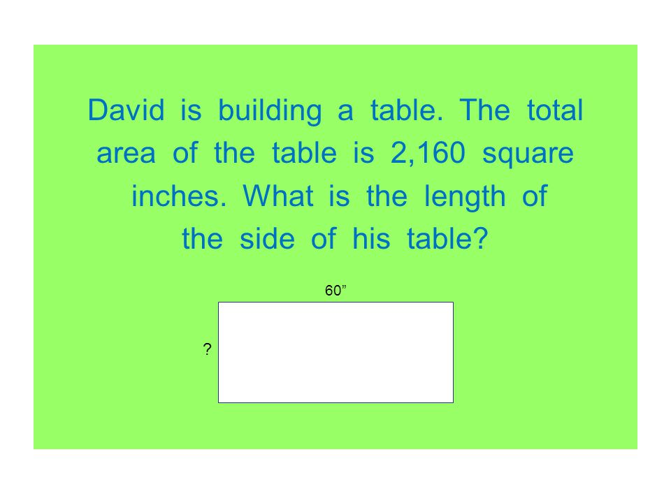 David is building a table. The total area of the table is 2,160 square