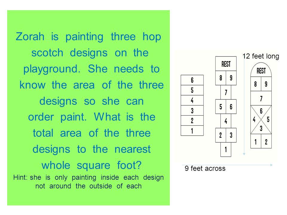 Zorah is painting three hop scotch designs on the