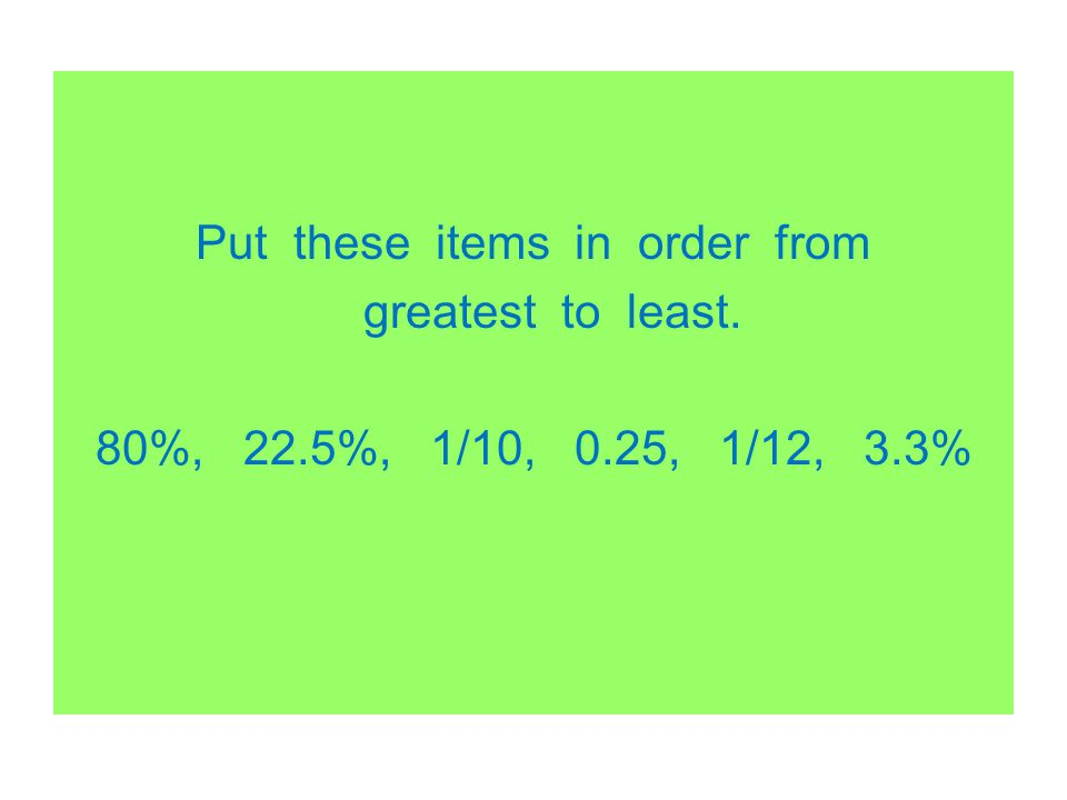 Put these items in order from greatest to least. 80%, 22. 5%, 1/10, 0