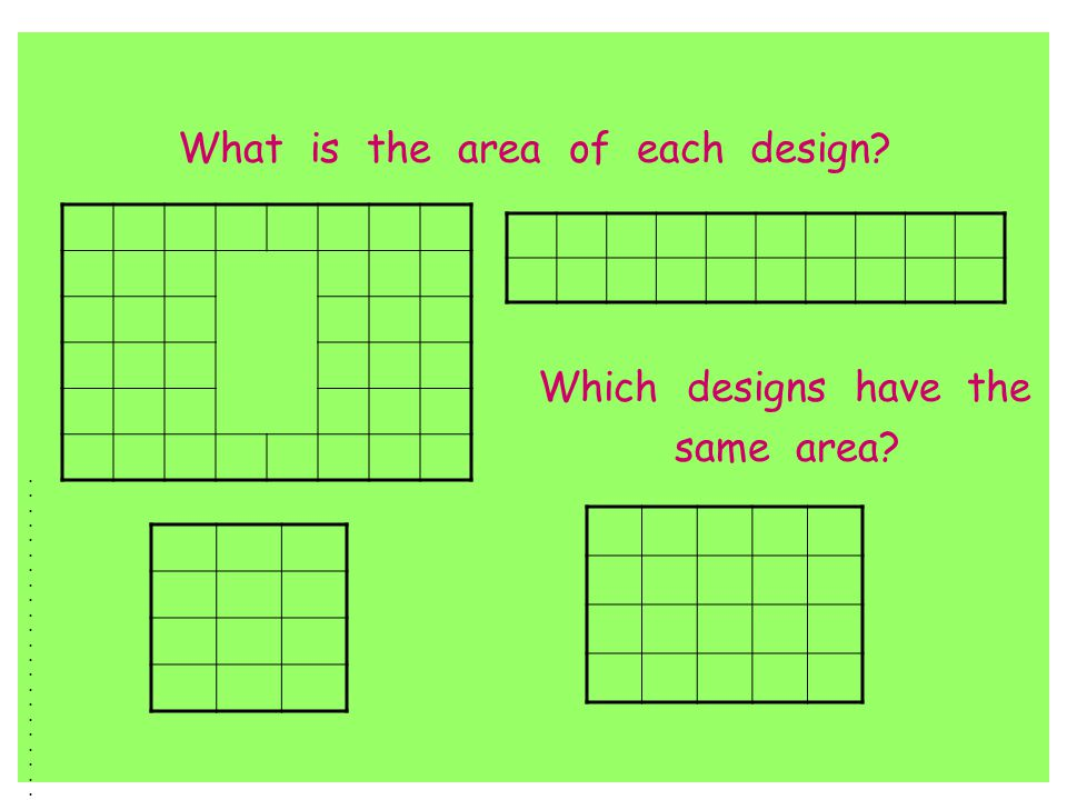 What is the area of each design