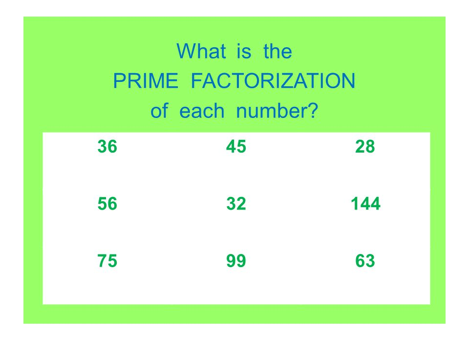 What is the PRIME FACTORIZATION of each number