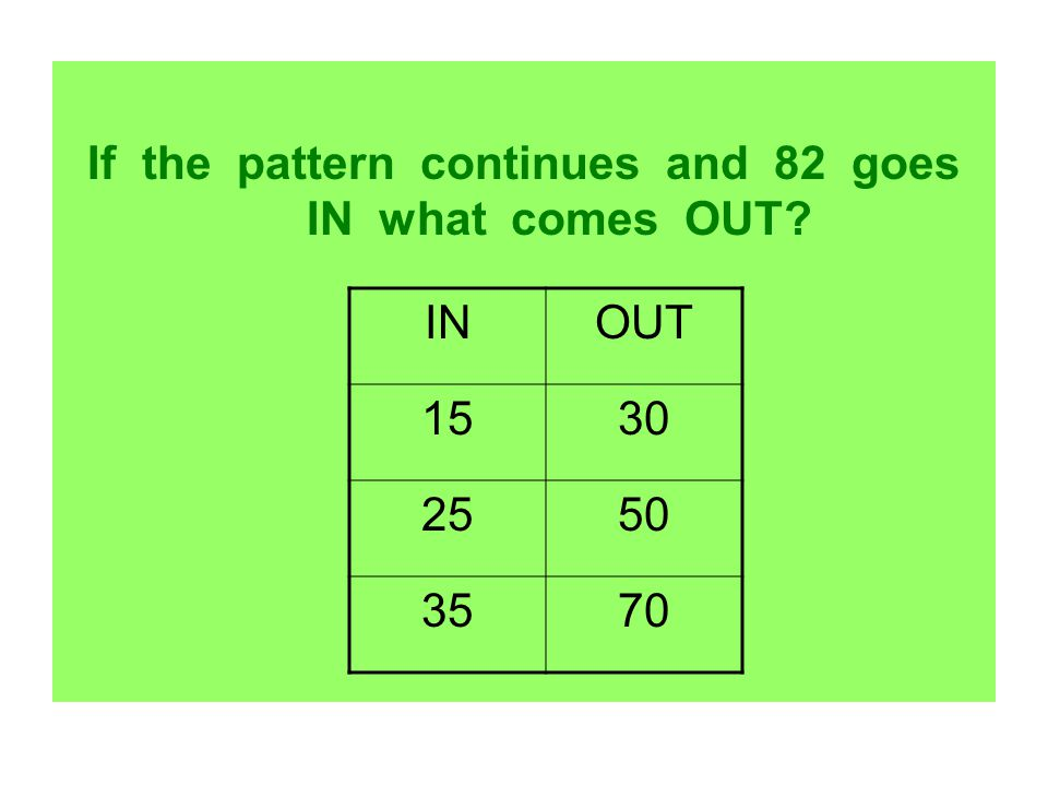 If the pattern continues and 82 goes IN what comes OUT
