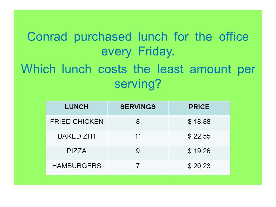 Conrad purchased lunch for the office every Friday