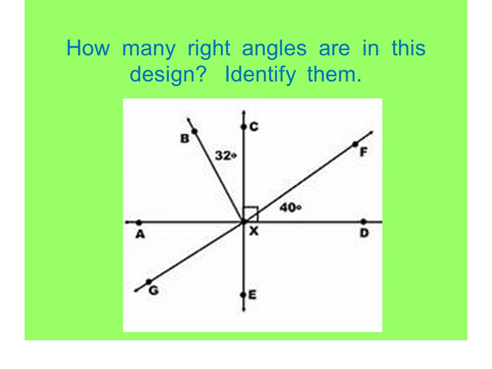 How many right angles are in this design Identify them.