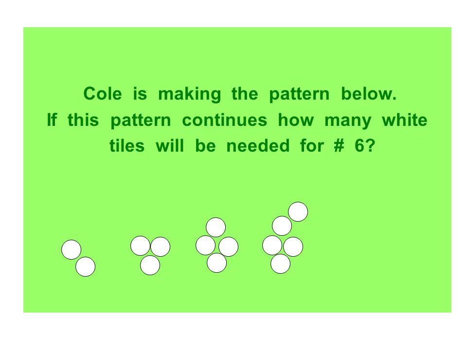 Cole is making the pattern below.