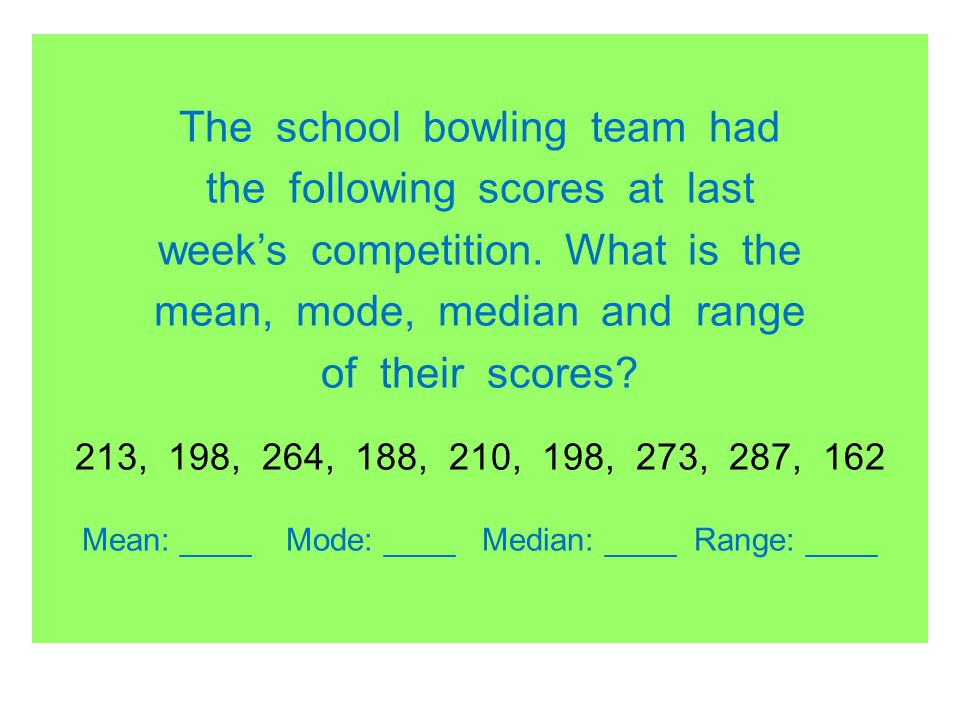 The school bowling team had the following scores at last