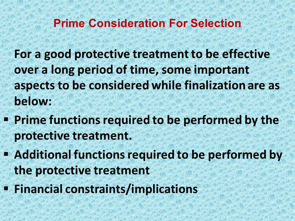 Prime Consideration For Selection