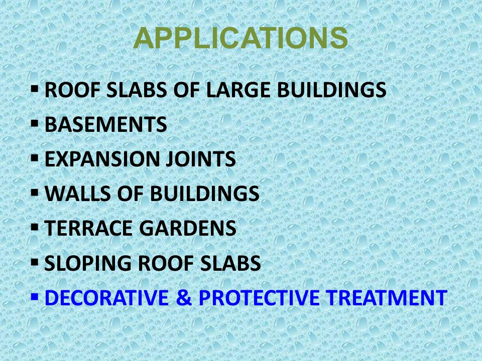 APPLICATIONS ROOF SLABS OF LARGE BUILDINGS BASEMENTS EXPANSION JOINTS