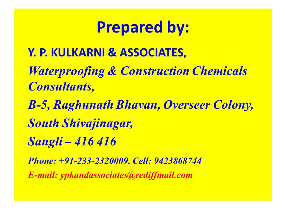 Prepared by: Y. P. KULKARNI & ASSOCIATES,