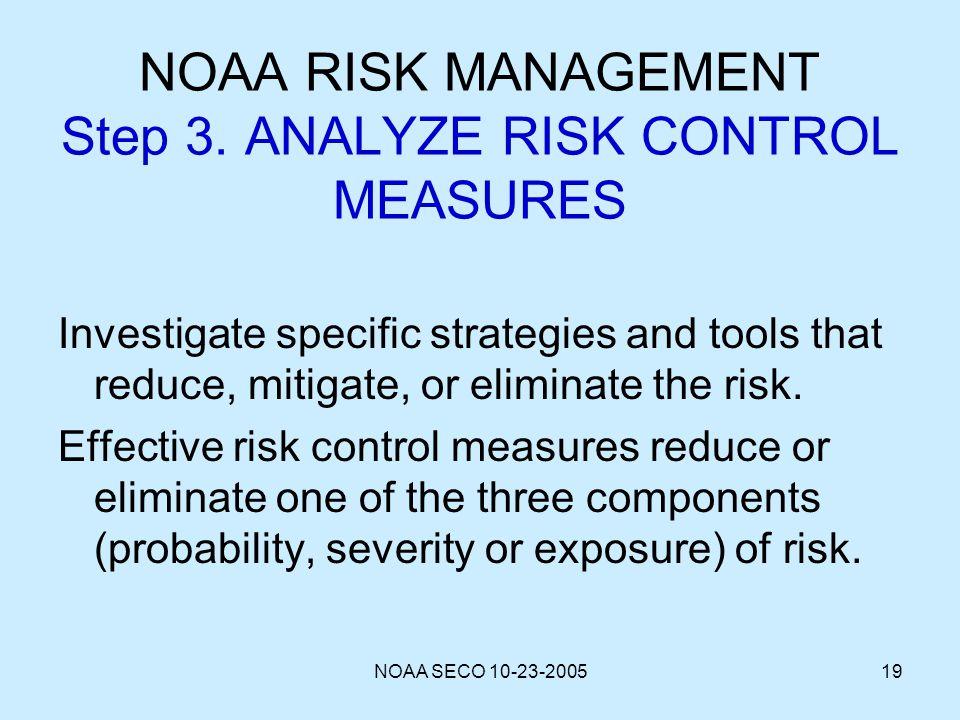 NOAA RISK MANAGEMENT Step 3. ANALYZE RISK CONTROL MEASURES