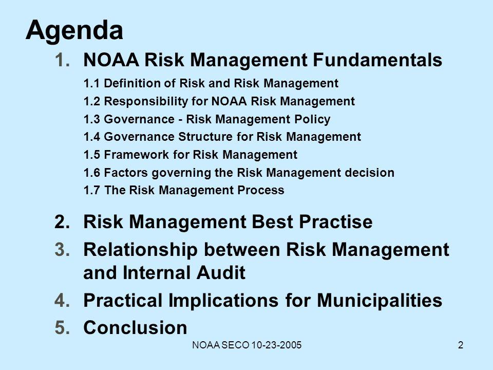 Agenda NOAA Risk Management Fundamentals