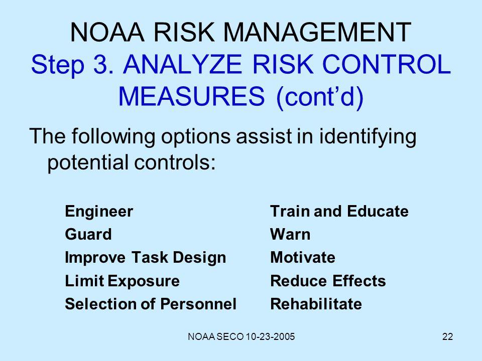 NOAA RISK MANAGEMENT Step 3. ANALYZE RISK CONTROL MEASURES (cont'd)