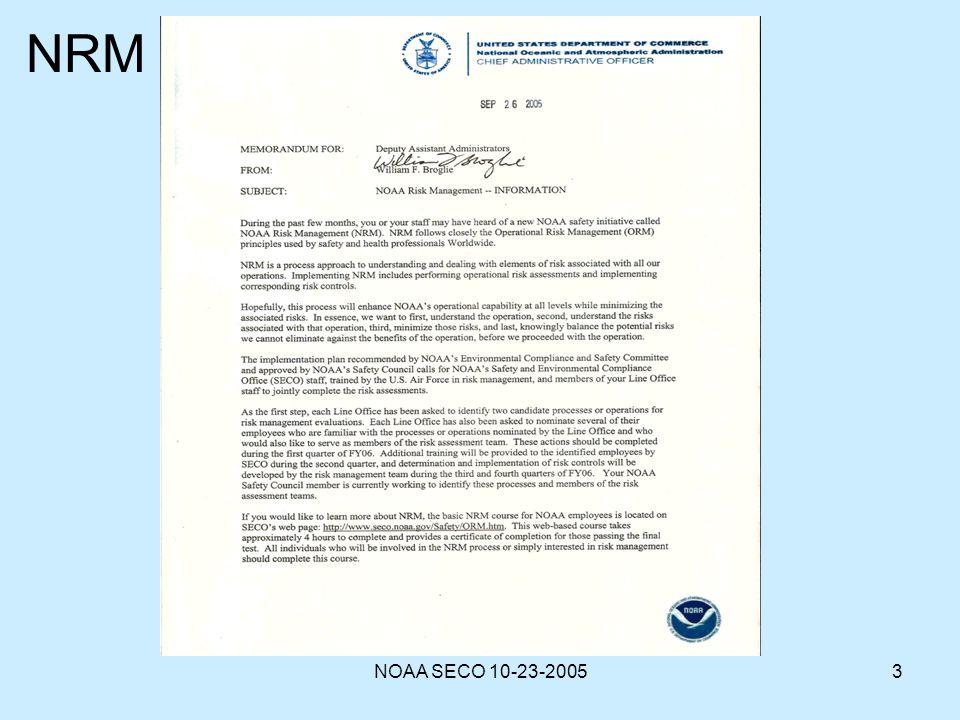 NRM NOAA SECO 10-23-2005